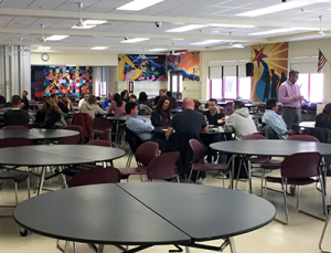 Participants in TZHS cafeteria for March 9 Countywide Superintendent's Conference Day sessions