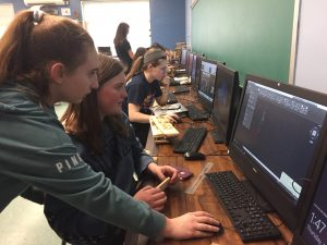 DDP students creating CAD designs for laser cutter projects
