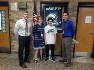 SOMS administrators with NY Jets Upstander of Week 3