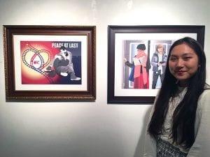 Kate Kim with her award-winning art work