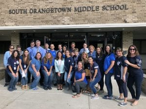 SOMS staff wearing blue for Stomp Out Bullying Day
