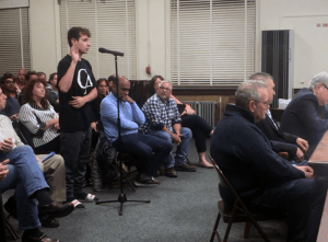 TZHS student speaking at local zoning board meeting