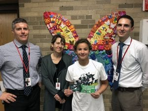SOMS Upstander of the Week Helena K. with administrators