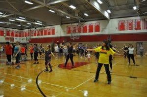 Participants in action at Zumba for Charity event