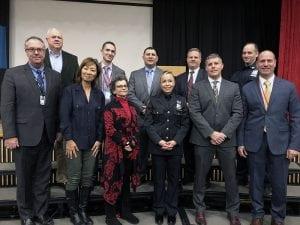 Administrators, Board members and Orangetown Police Department reps at DARE graduation