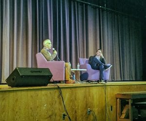 Authors David and Nic Sheff seated onstage at TZHS