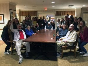Students with seniors at Sunrise of Old Tappan