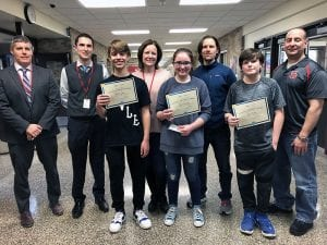 SOMS NatGeo Bee winners with school counselors, facutly and administrators