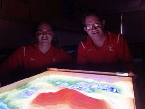 Two male teachers with AR Sandbox