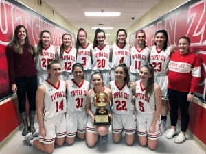 Girls Basketball team with coaches and Section trophy