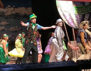 Students performing onstage in costumes