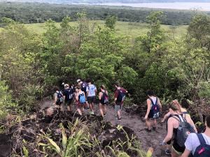 Students hiking in rainforest