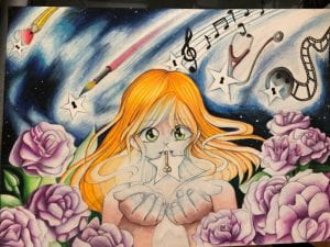 Cartoon drawing of girls with music and flowers