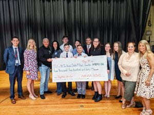 NJHS members, advisors and faculty hold large check for Hi Tor Animal Shelter