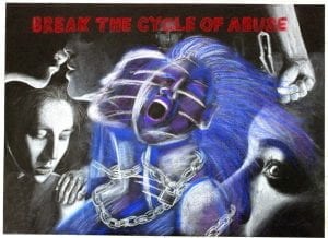 """Drawing with text """"Break the Cycle of Abuse"""""""
