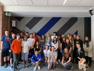 Group of TZHS students with Google employees at Google Chelsea headquarters