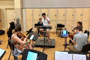 Morley conducts the first pit rehearsal for his musical, Morningside.