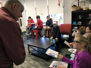 Director of Facilities Jack Rallo speaks with CLE fifth-graders