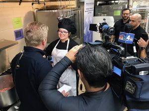 Tatiana Guzman in chef blacks interviewed by Channel 4