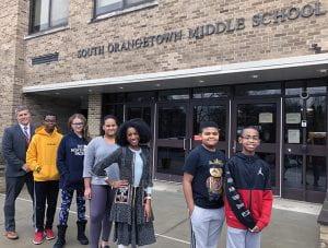 2020 SOMS RCC Black Achievement Award winners with Assistant Principal Onativia