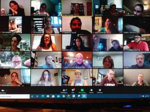 Teachers participating in virtual professional development