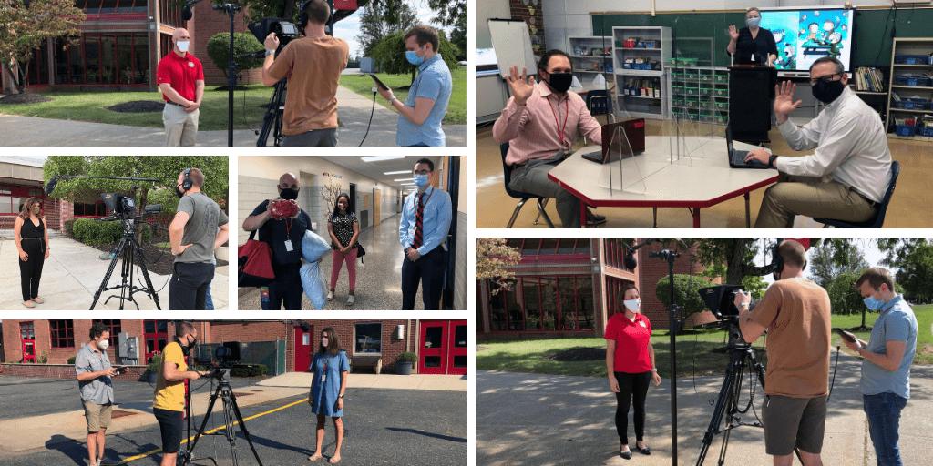 Still photos of filming back-to-school videos