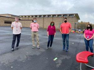 SOMS staff wearing pink