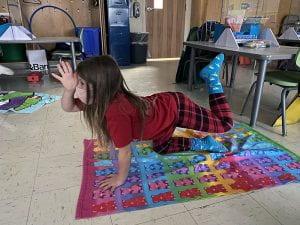 Student doing yoga pose