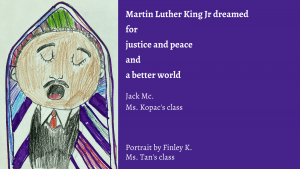 Student portrait of MLK and poem
