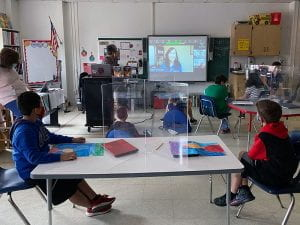 Author Angela Cervantes Zooms with fourth-graders