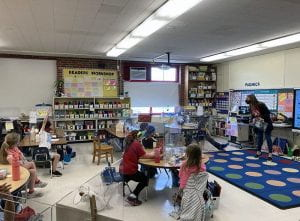 Dr. Lisa Murphy with first-graders
