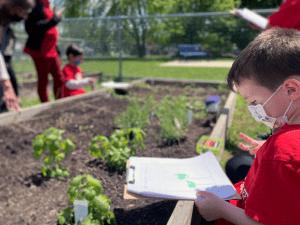 Elementary school boy taking notes in garden