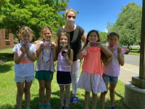 Liz Piteo and second-graders with Legacy Stones