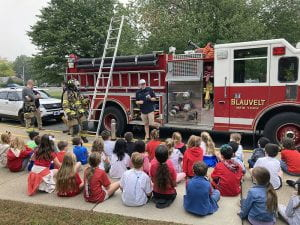 Blauvelt Fire Department volunteers with WOS students