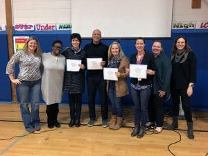PTA leaders, administrators and teachers with certificates