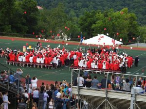 Senior Class throw mortarboards at end of graduation