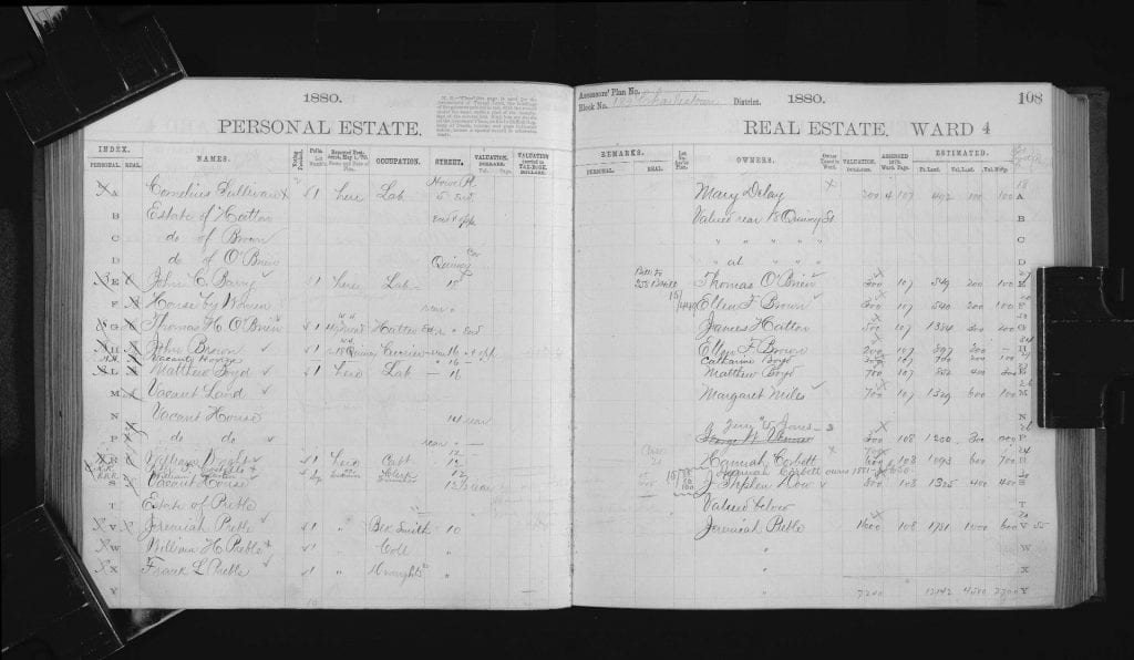 Two pages of 1880 real estate tax records from the City of Boston Archives.