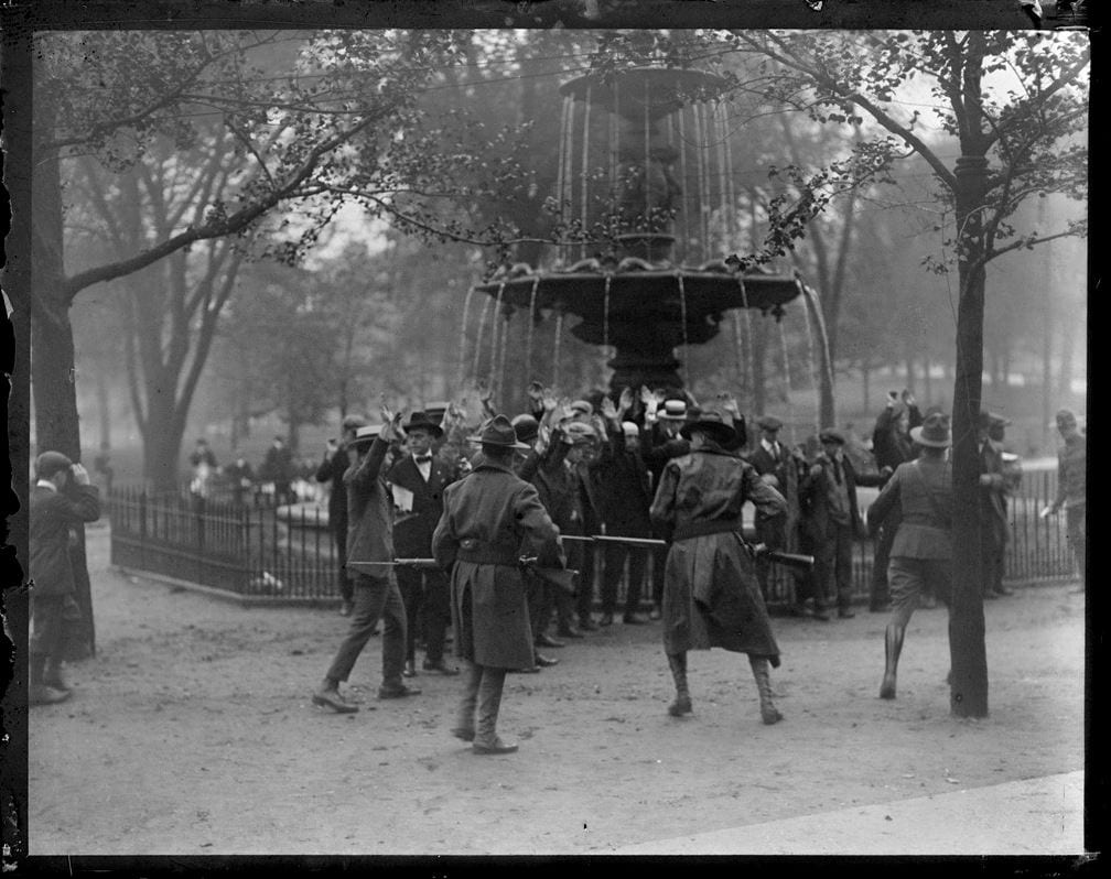 Riot on Boston Common during the police strike, 1919.