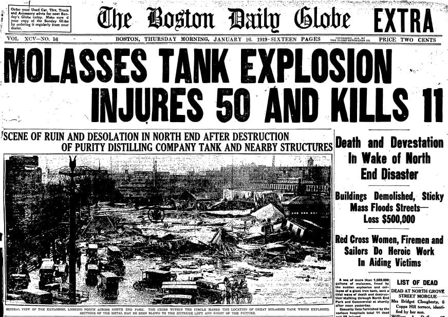 Front page article from the Boston Daily Globe with photograph of molasses flood destruction.