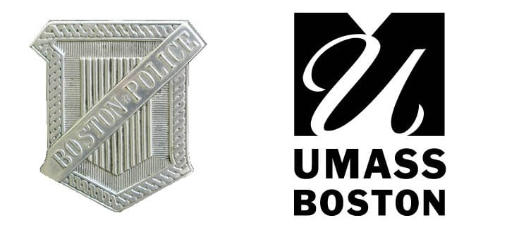 Logos for Boston Police Department Archives and UMass Boston