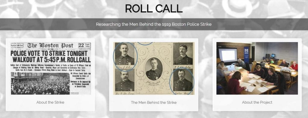 Screen shot of landing page for ROLL CALL, the website and database about the 1919 Boston Police Strike