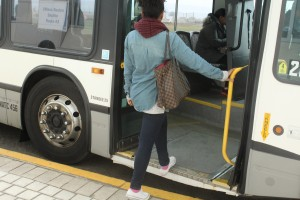 Filomena gets on Bus