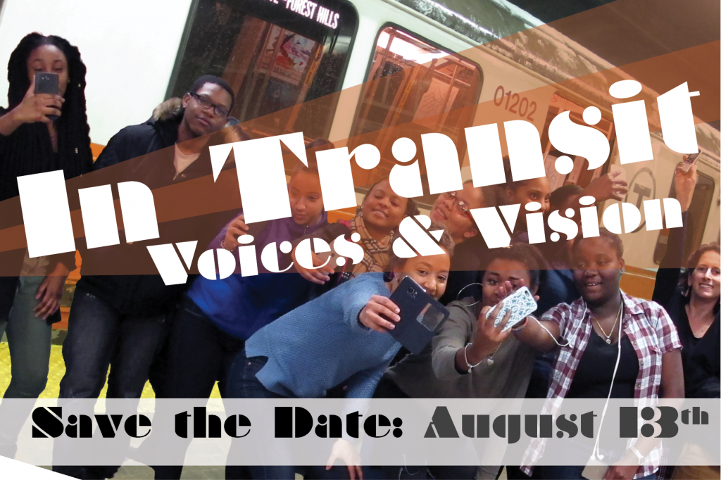 Students posing with cellphones in front of the MBTA train forest hills station. Save the Date August 13th announcement.
