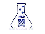 IMSD Logo. umass boston insignia and letters I. M. S. D. inside an Erlenmeyer flask