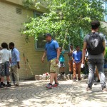 Students gather together before they start the gardening.