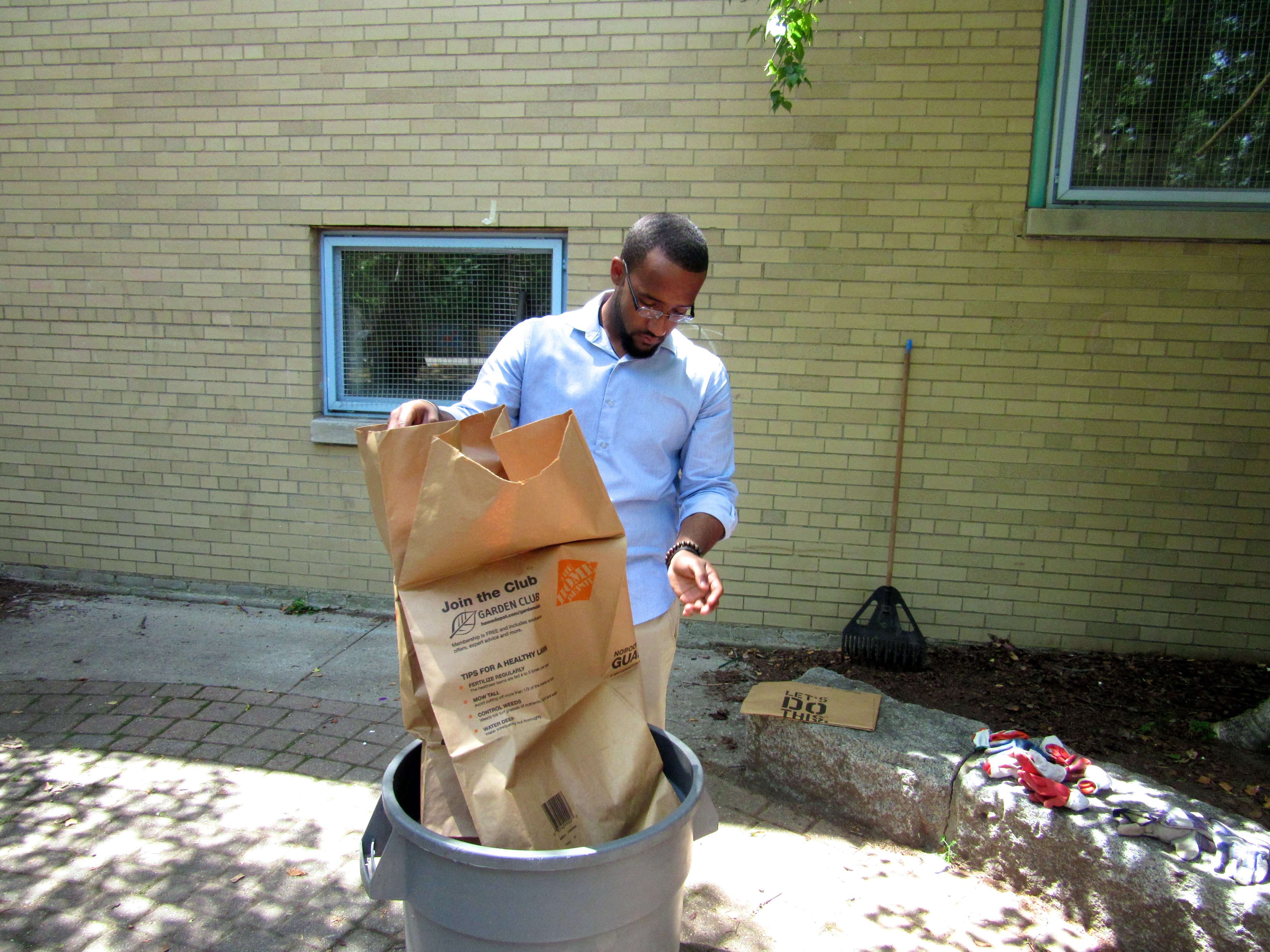 Manny helped contributed the work by cleaning up the area.