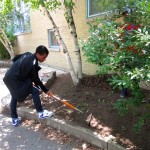 A student helped even out the dirt.