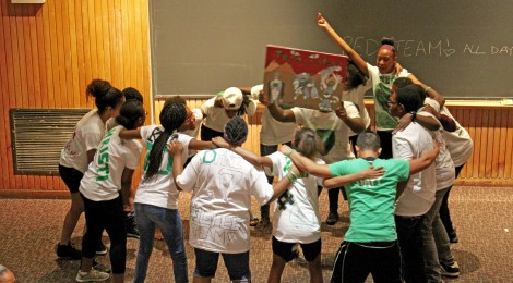 Green team did a powerful team chant!