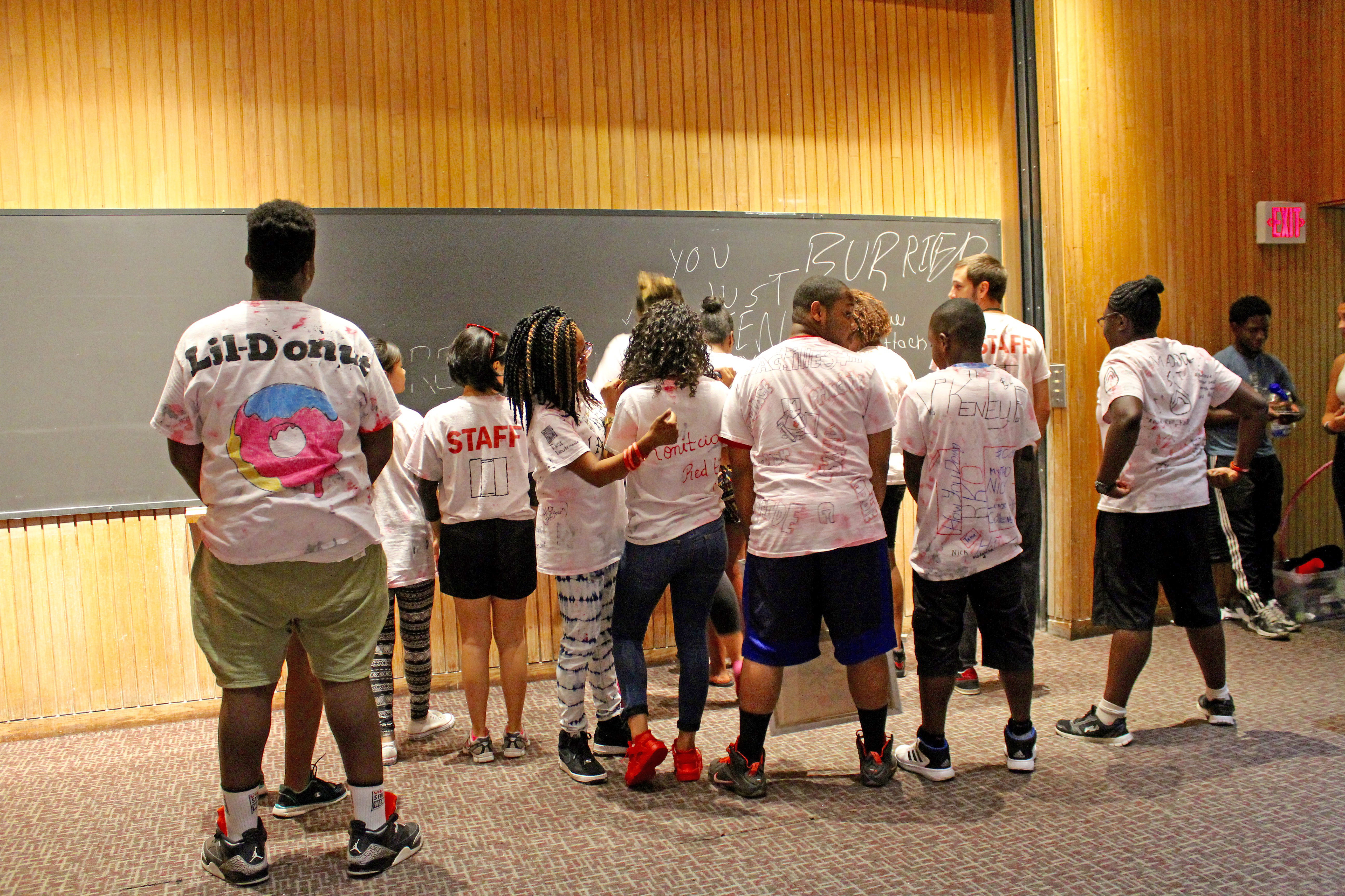Red Team showed off their t shirts.