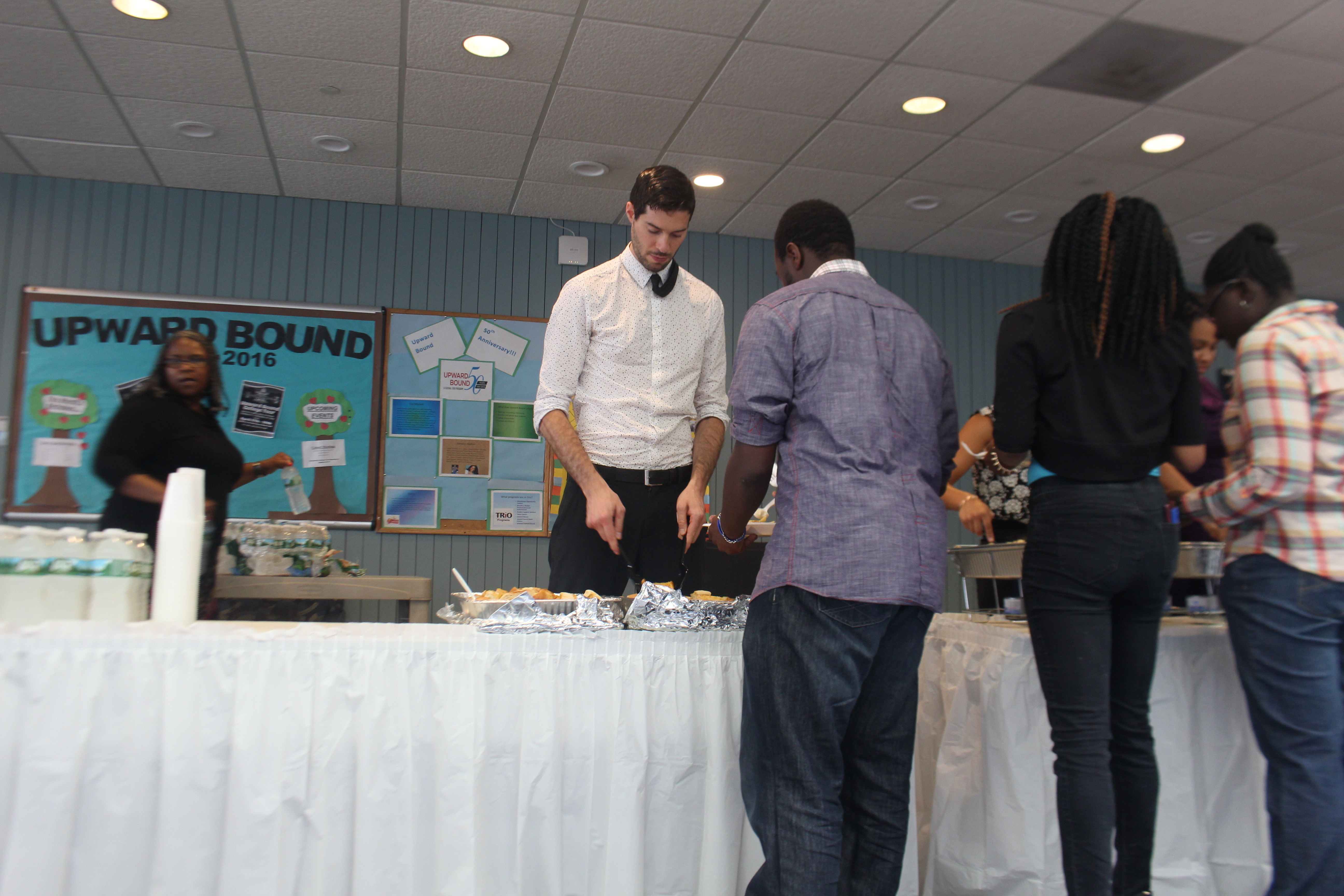 Jeff helped serve food to all the guests.